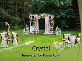 Presentation Design With Beautiful Wedding Ceremony Outdoors Decorated Background And A Yellow Colored Foreground
