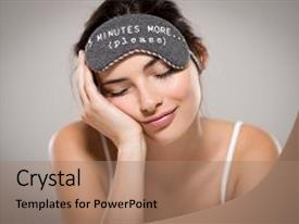 Presentation theme enhanced with beautiful woman sleeping with eye background and a coral colored foreground.