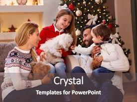 Cool new presentation theme with beautiful young family enjoying playing backdrop and a dark gray colored foreground.