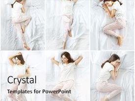 Slide set featuring beautiful young girl sleeping in the bedroom background and a white colored foreground