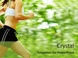 Presentation theme consisting of beautiful young woman runner background and a yellow colored foreground.