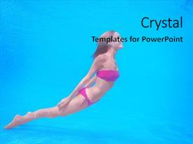 PPT layouts with beautiful young woman swimming under water in pool background and a cyan colored foreground.