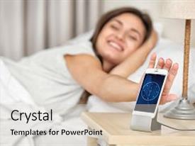 Slide deck featuring beautiful young woman waking up with mobile alarm clock background and a lemonade colored foreground