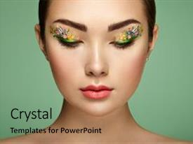 Audience pleasing PPT layouts consisting of beauty fashion eyelashes cosmetic eyeshadow backdrop and a  colored foreground.