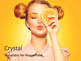 Theme featuring beauty model girl takes juicy background and a yellow colored foreground
