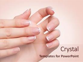 Presentation theme consisting of manicured - beauty nails over beige background background and a lemonade colored foreground.