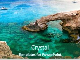 Beautiful PPT theme featuring beauty of cyprus arch bridge backdrop and a ocean colored foreground