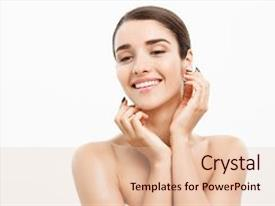 Amazing presentation theme having beauty skin care concept - beautiful caucasian woman face portrait beautiful beauty young female model girl touching her face skin cheeks hands fingers fashion beauty model isolated on white backdrop and a lemonade colored foreground.