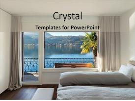 Beautiful PPT theme featuring bedroom with large window view backdrop and a light gray colored foreground