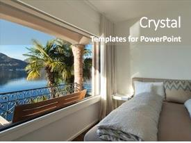 Presentation theme consisting of bedroom with large window view background and a coral colored foreground