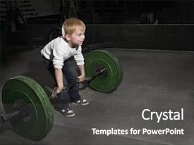 Presentation theme having believe - determined young boy trying background and a dark gray colored foreground
