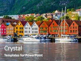 Cool new PPT theme with bergen norway view of historical buildings in bryggen- hanseatic wharf in bergen norway unesco world heritage site backdrop and a  colored foreground.