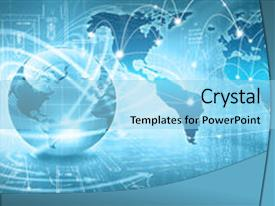 Presentation design enhanced with best concept of global business background and a light blue colored foreground.