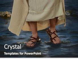 Colorful theme enhanced with bible - view of jesus feet walking backdrop and a tawny brown colored foreground