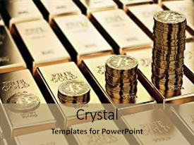 Slide deck consisting of bitcoin piles on rows of gold bars gold ingots bitcoin keep growing and it is as desirable as gold concept 3d rendering background and a coral colored foreground.