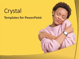 Slide deck consisting of black - beautiful young african american woman background and a yellow colored foreground