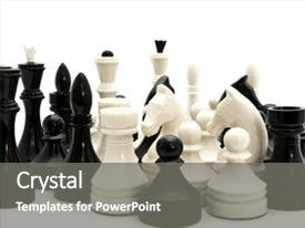Presentation theme with black and white chess figures against the white background background and a gray colored foreground