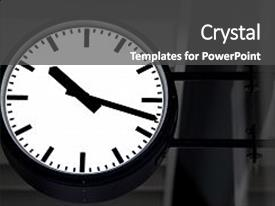 Presentation design with black clock in a metro background and a dark gray colored foreground