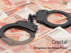 Amazing theme having police - black handcuffs on russian money backdrop and a soft green colored foreground