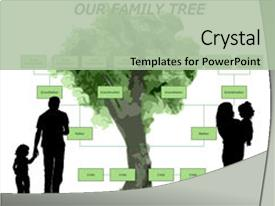 ppt theme consisting of blank family tree background and a mint green colored foreground