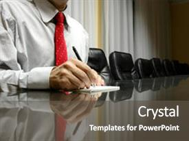 Presentation theme consisting of blank paper in board room background and a dark gray colored foreground.