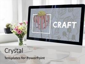 PPT layouts having blooming floral arts and crafts background and a light gray colored foreground