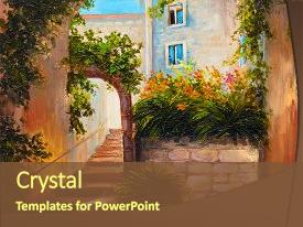 PPT layouts having blooming flowers colorful abstract art background and a tawny brown colored foreground.