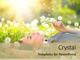 Colorful slide deck enhanced with blowing dandelion outdoors enjoy nature backdrop and a coral colored foreground