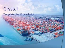 Powerpoint Template Sea Ship At The Port On A White And Blue Background 26123