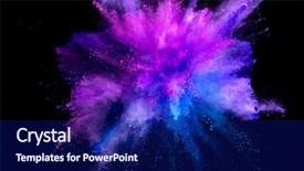 Cool new slide set with blue - explosion of coloured powder isolated backdrop and a navy blue colored foreground