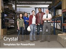 Audience pleasing presentation design consisting of blue - workers in warehouse backdrop and a gray colored foreground