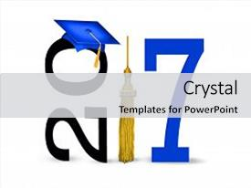 Amazing PPT theme having boldly - blue graduation cap with gold backdrop and a light gray colored foreground.