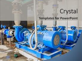 PPT layouts with blue pumps and valve background and a  colored foreground.