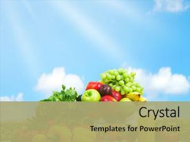 Audience pleasing PPT theme consisting of blue sky healthy food backdrop and a mint green colored foreground.