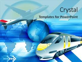 Cool new PPT theme with blue travel background with train backdrop and a light blue colored foreground.
