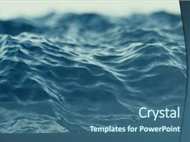 Presentation design having blue water background with ripples background and a ocean colored foreground.