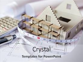 Presentation design featuring scaffolding - blueprint plan at desk  background and a light gray colored foreground.