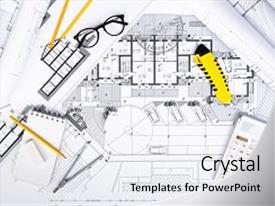 Theme featuring blueprints architectural and engineering background and a white colored foreground