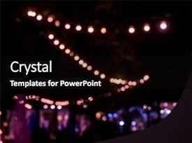 Beautiful PPT theme featuring blur image of night festival backdrop and a  colored foreground.
