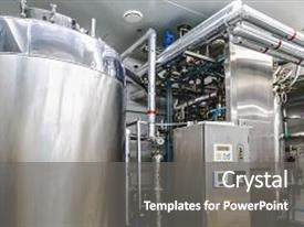 Colorful slide deck enhanced with boiler or tank on pharmaceutical backdrop and a  colored foreground.