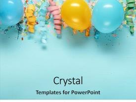 PPT theme featuring border - birthday decoration balloon and streamers background and a arctic colored foreground