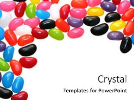 PPT Layouts Enhanced With Border Of Colorful Jelly Beans Background And A White Colored Foreground