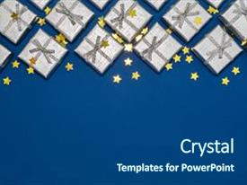 beautiful ppt theme featuring border of silver shiny gifts and golden stars on blue background new