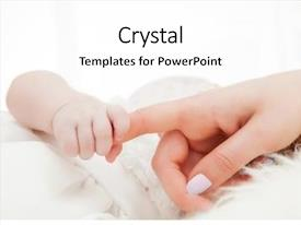 Presentation theme enhanced with born - newborn baby grasping her mother's background and a white colored foreground
