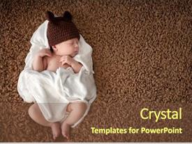 Presentation featuring born - serene newborn baby sleeping wrapped background and a tawny brown colored foreground