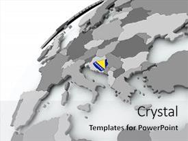 Presentation theme enhanced with bosnia with embedded flag on globe 3d illustration background and a light gray colored foreground.
