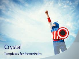 Captain america powerpoint templates crystalgraphics slides enhanced with boy dressed as captain america background and a sky blue colored foreground toneelgroepblik Gallery