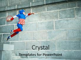 Captain america powerpoint templates crystalgraphics cool new presentation theme with boy dressed as captain america backdrop and a light gray colored toneelgroepblik Gallery