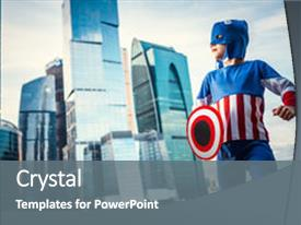 Captain america powerpoint templates crystalgraphics ppt theme enhanced with boy dressed as captain america background and a colored foreground toneelgroepblik Gallery