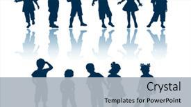 Audience pleasing theme consisting of boy girl - kids 11 silhouettes backdrop and a light gray colored foreground.